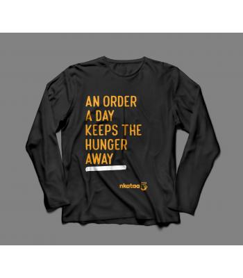 Nkataa @ 5 Anniversary Short  Sleeve T-Shirt -An Order A Day Keeps the Hunger Away  (Black)